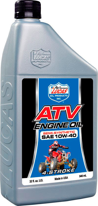 """LUCAS OIL"" SAE 10W40 SEMI-SYNTHETIC ATV ENGINE OIL 946ml"