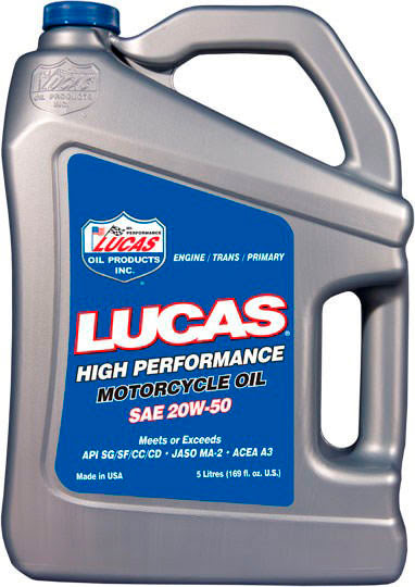 """LUCAS OIL"" SAE 20W50 HIGH PERFORMANCE MOTORCYCLE OILS 5Ltr"