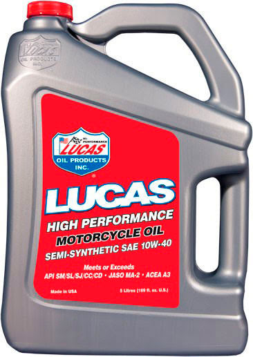 """LUCAS OIL"" SAE 10W40 MOTORCYCLE OIL 5Ltr"